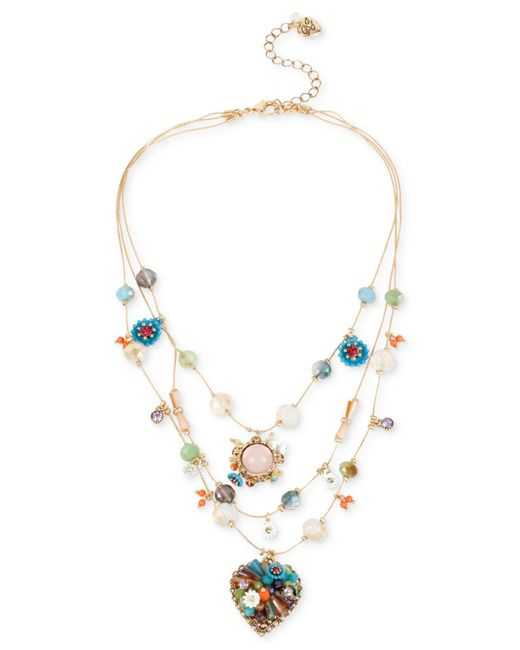 Betsey Johnson - Metallic Gold-tone Multicolor Beaded Illusion Necklace - Lyst