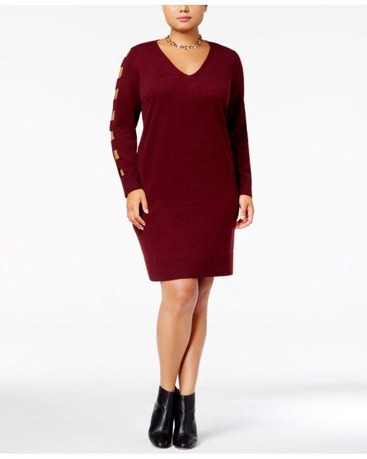 Lyst Love Scarlett Plus Size Cutout Sweater Dress In Red