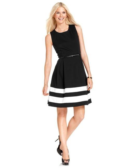Calvin Klein | Black Colorblocked Belted Fit & Flare Dress | Lyst
