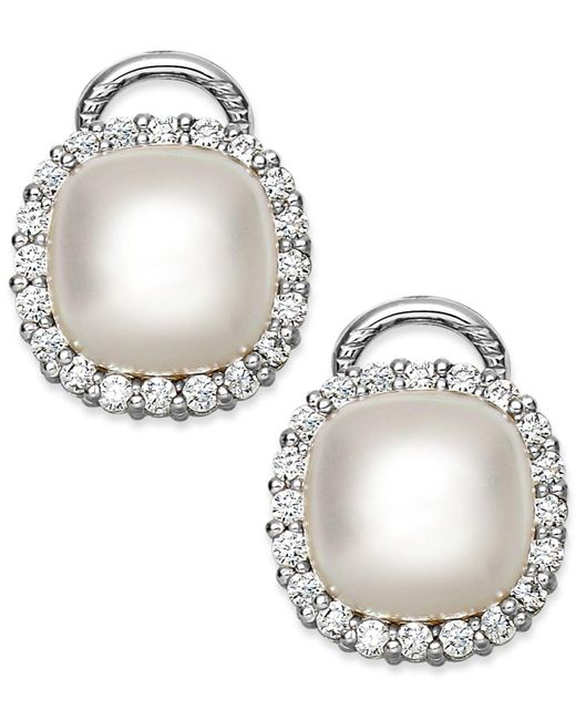 Majorica   Metallic Sterling Silver Organic Man-made Pearl And Cubic Zirconia Stud Earrings   Lyst