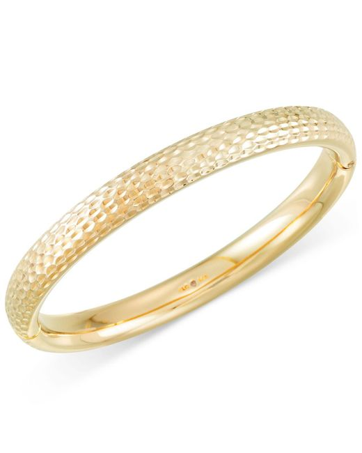 Signature Gold - Metallic Textured Bangle Bracelet In 14k Gold - Lyst