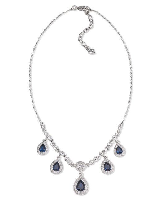 Carolee | Gray Necklace, Silver-tone Blue Stone Pear Drop Frontal Necklace | Lyst