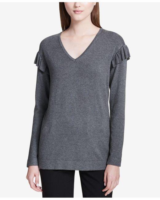 Calvin Klein | Gray Ruffled V-neck Sweater | Lyst