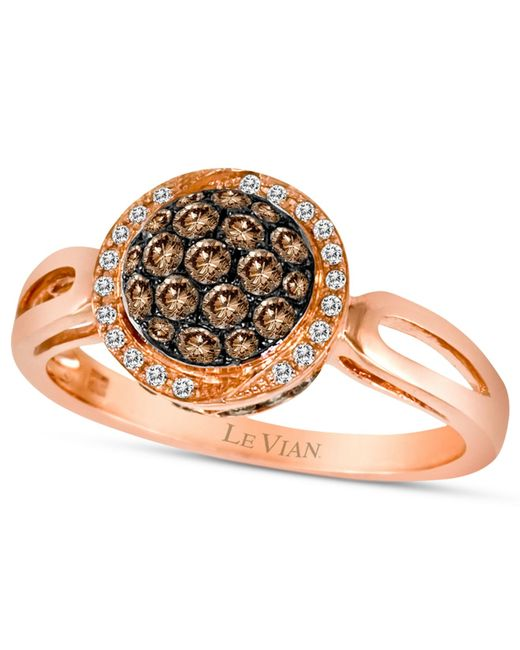 Le Vian | Brown Chocolate Diamond (1/2 Ct. T.w.) And White Diamond Accent Pave Oval Ring In 14k Rose Gold | Lyst