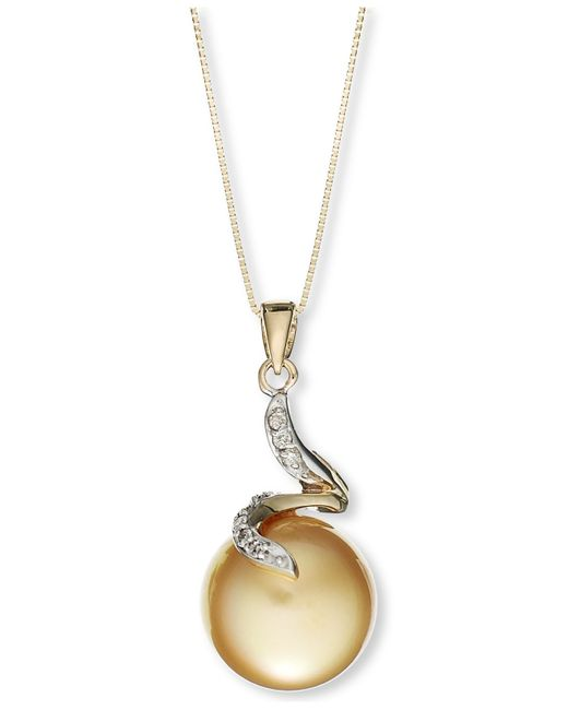 Macy's | Green 14k Gold Necklace, Cultured Golden South Sea Pearl (12mm) And Diamond Accent Pendant | Lyst