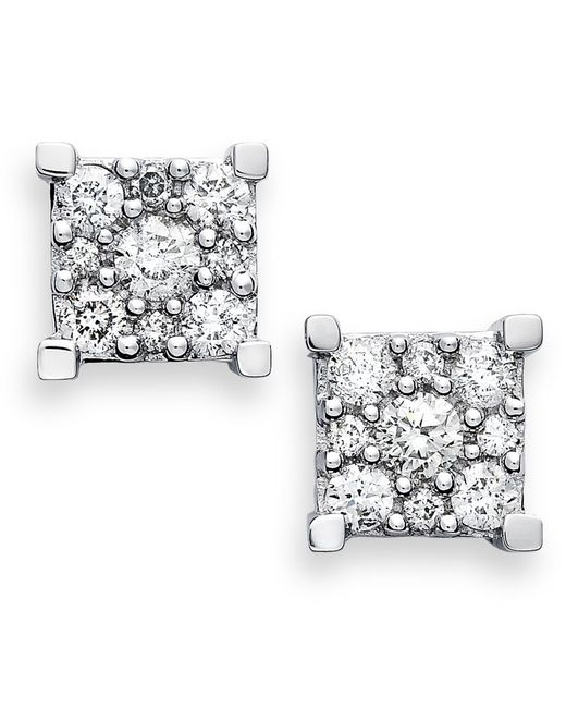 Macy's   Metallic Diamond Square Cluster Earrings In 14k White Gold (1/2 Ct. T.w.)   Lyst