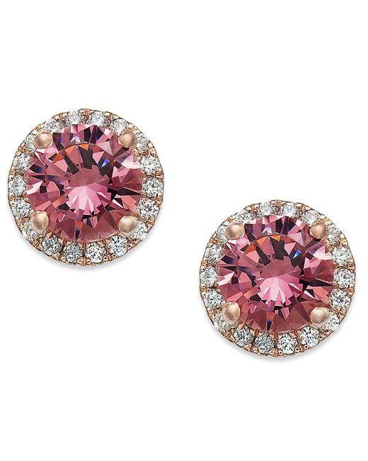 Macy's | 14k Rose Gold Over Sterling Silver Earrings, Pink Swarovski Zirconia Stud Earrings (2-3/4 Ct. T.w.) | Lyst