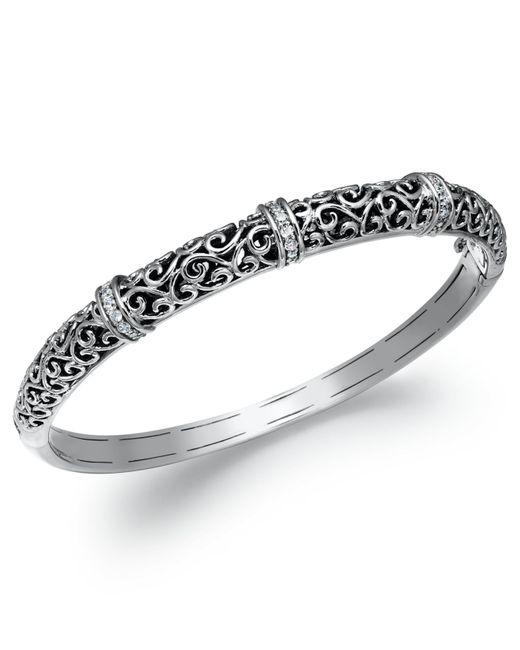 Macy's   Metallic Diamond Antique Bangle Bracelet In Sterling Silver (1/4 Ct. T.w.)   Lyst