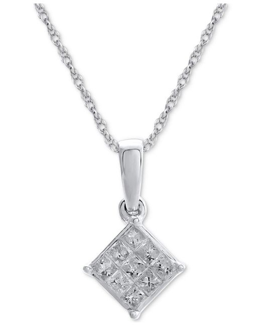 Macy's | Metallic Diamond Cluster Pendant Necklace (1/7 Ct. T.w.) In 14k White Gold | Lyst