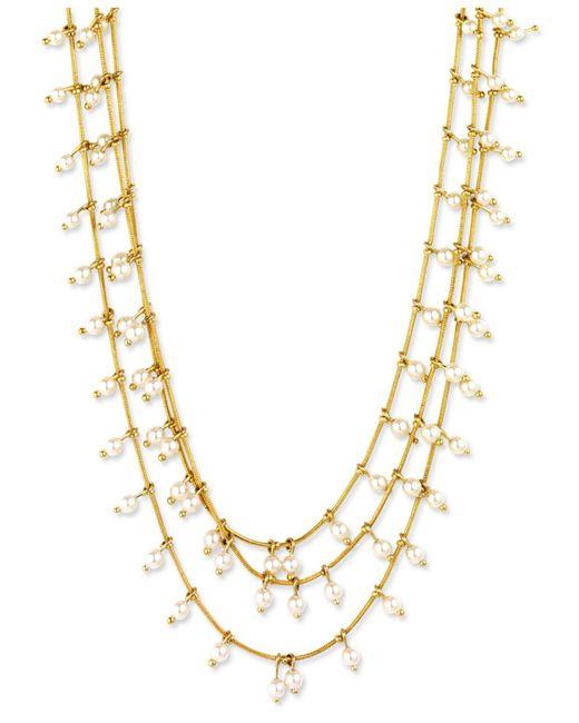 Anne Klein | Metallic Gold-tone Three Row Imitation Pearl Layered Necklace | Lyst