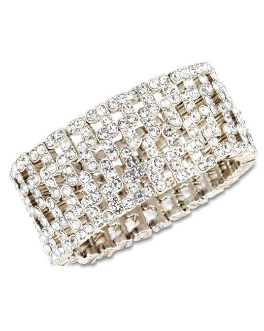 Anne Klein   Metallic Silver-tone Crystal Stretch Cuff Bracelet   Lyst