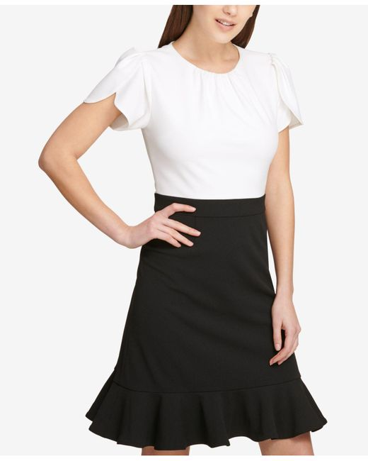 3ea51395 ... DKNY - Black Colorblocked Flounce Sheath Dress, Created For Macy's -  Lyst