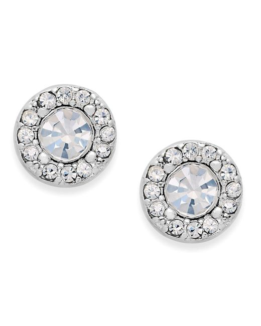 Charter Club - Metallic Silver-tone Clear Circle Stud Earrings - Lyst