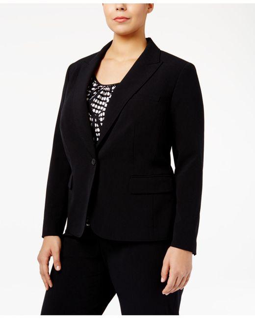 Anne Klein - Black Plus Size One-button Blazer - Lyst