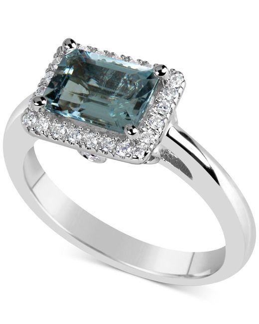 Macy's - Metallic Aquamarine (1-5/8 Ct. T.w.) & Diamond (1/6 Ct. T.w.) Ring In 14k White Gold - Lyst