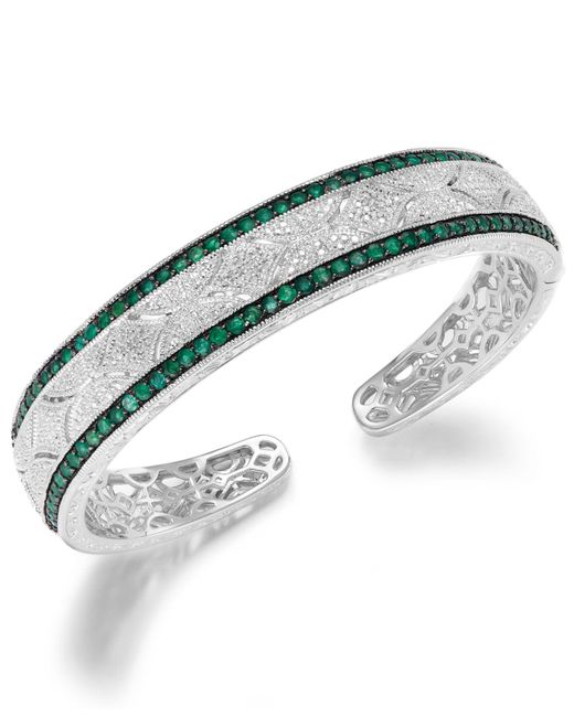 Macy's - Green Emerald (1-1/3 Ct. T.w.) And Diamond Accent Cuff Bracelet In Sterling Silver - Lyst