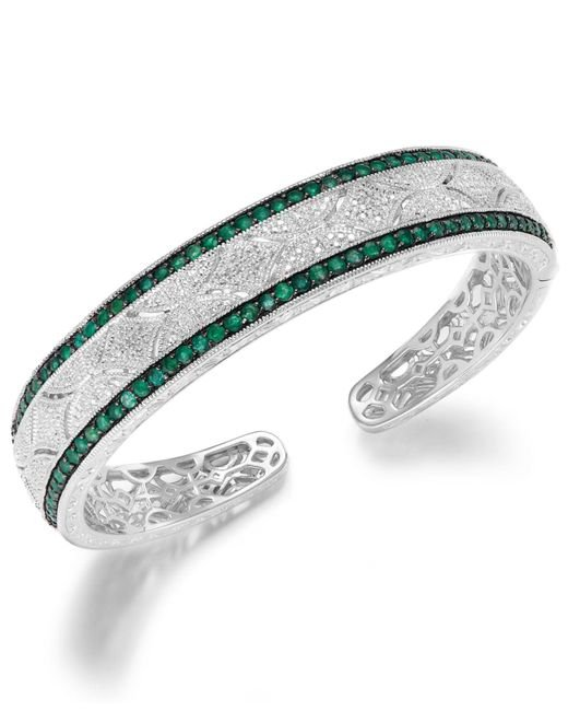 Macy's | Green Emerald (1-1/3 Ct. T.w.) And Diamond Accent Cuff Bracelet In Sterling Silver | Lyst