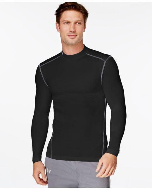 Under Armour - Black Mock Neck Long-sleeve T-shirt for Men - Lyst