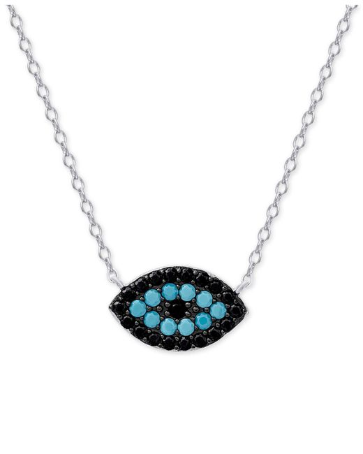 Macy's | Metallic Manufactured Turquoise And Black Crystal Evil-eye Pendant Necklace In Sterling Silver | Lyst