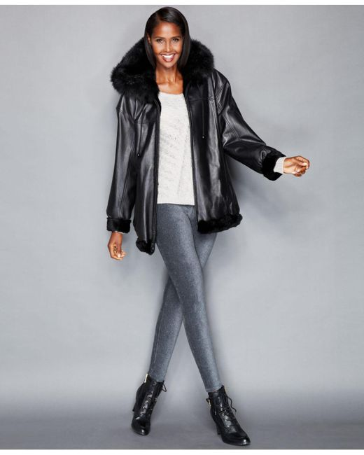 The Fur Vault | Black Leather & Rabbit Fur Reversible Hooded Jacket | Lyst