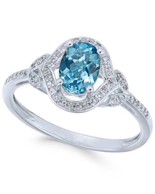 Macy's | Blue Topaz (9/10 Ct. T.w.) & Diamond (1/8 Ct. T.w.) Ring In 14k White Gold | Lyst