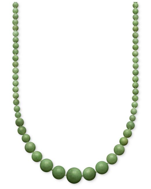 Macy's - Metallic Jade Graduated Strand Necklace In 14k Gold (6-14mm) - Lyst