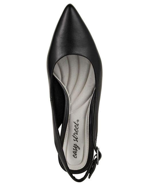 b83dfee13a0 ... Easy Street - Black Faye Slingback Kitten-heel Pumps - Lyst ...