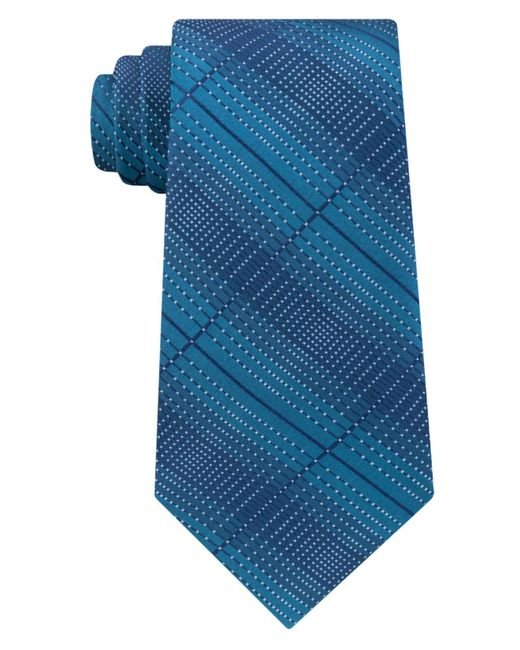 Kenneth Cole Reaction | Blue Men's Optical Texture Plaid Silk Tie for Men | Lyst
