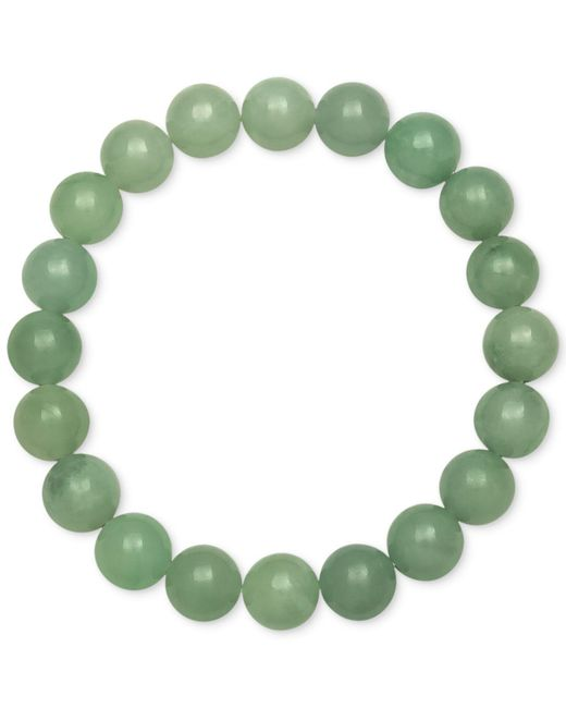 Macy's - Green Dyed Jade Stretch Bracelet (10mm) - Lyst