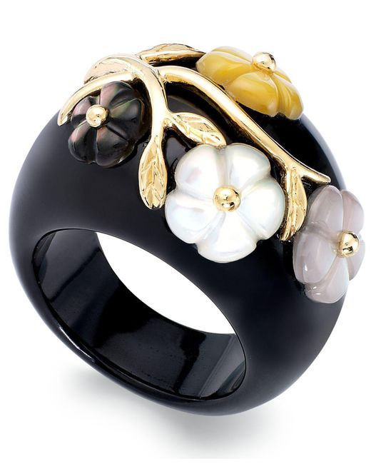 Macy's | Black 14k Gold Over Sterling Silver Ring, Jade Or Onyx And Multicolored Mother Of Pearl Flower Ring | Lyst