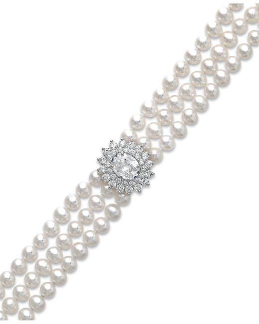 Arabella - White Cultured Freshwater Pearl (5mm) And Swarovski Zirconia Bracelet In Sterling Silver - Lyst