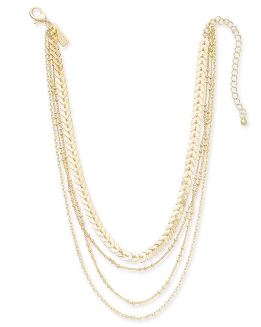 "INC International Concepts - Metallic Gold-tone Multi-chain Layered Choker Necklace, 12"" + 3"" Extender - Lyst"