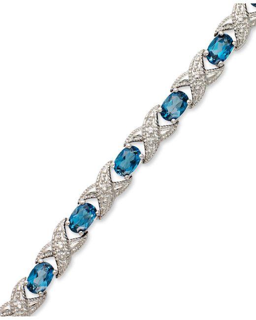 Macy's - London Blue Topaz (7-1/2 Ct. T.w.) And Diamond Accent Xo Bracelet In Sterling Silver - Lyst