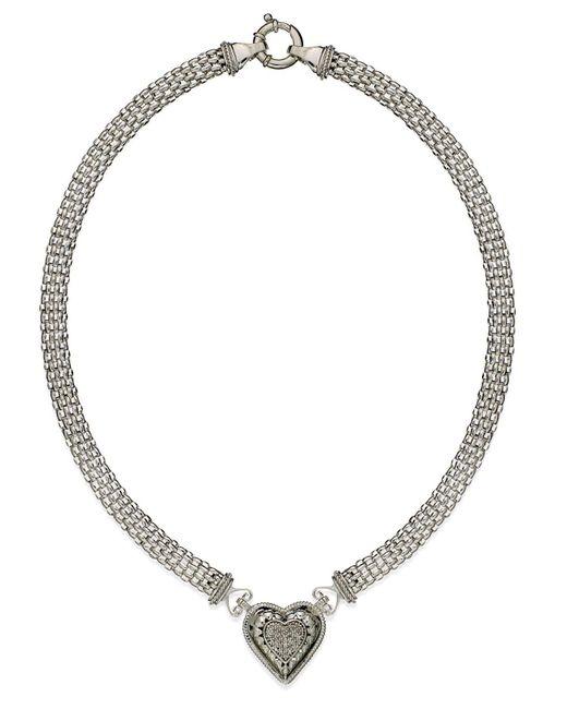 Macy's | Metallic Diamond Mesh Heart Necklace In Sterling Silver (1/4 Ct. T.w.) | Lyst