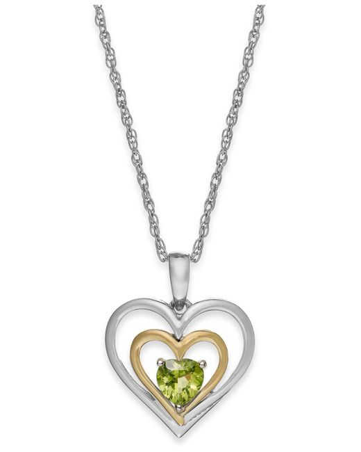 Macy's - Metallic Peridot Heart Pendant Necklace In 14k Gold And Sterling Silver (1/2 Ct. T.w.) - Lyst