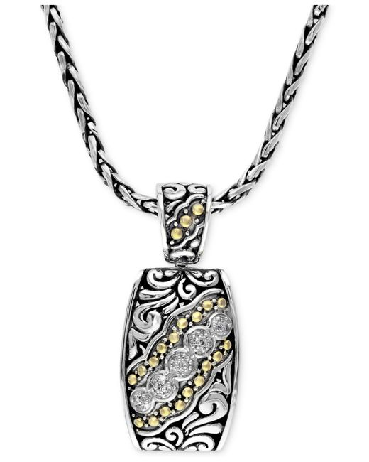 Effy Collection | Metallic Diamond Etched Pendant (1/10 Ct. T.w.) In Sterling Silver And 18k Gold | Lyst