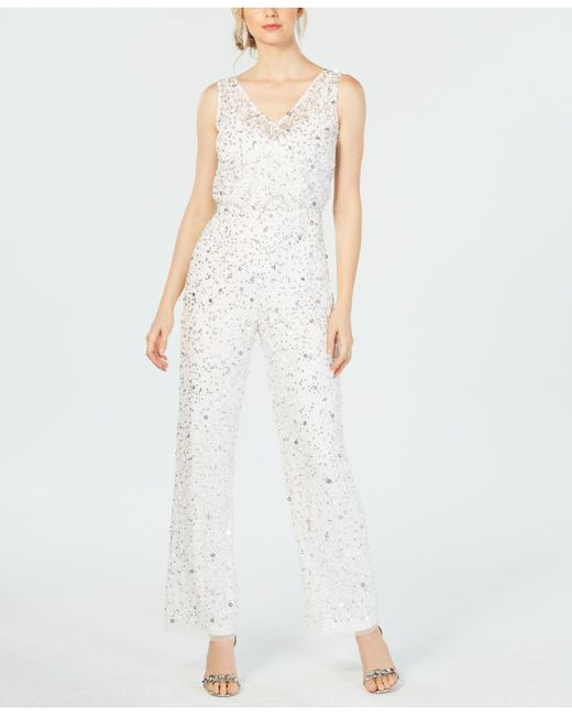e1b1d25aa60 Adrianna Papell - White Sequin-embellished Jumpsuit - Lyst ...