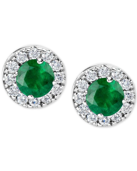 Macy's Green Emerald (1 Ct. T.w.) And Diamond (1/3 Ct. T.w.) Halo Stud Earrings In 14k White Gold