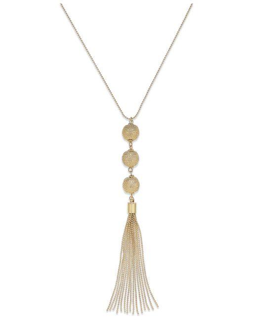 INC International Concepts - Metallic Gold-tone Triple Ball Tassel Necklace - Lyst