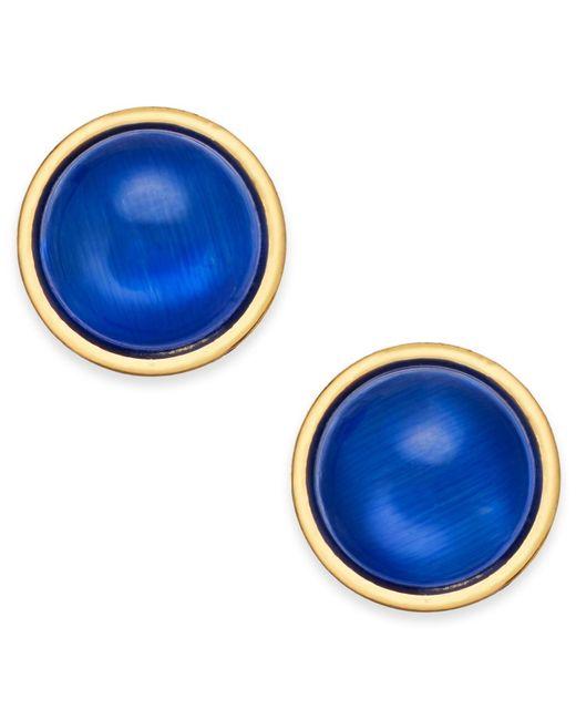 Kate Spade - Blue Gold-tone Crystal Stud Earrings - Lyst
