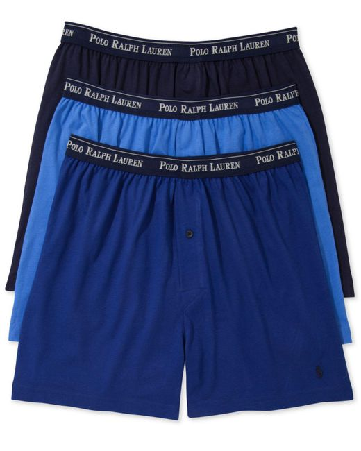 Polo Ralph Lauren - Blue Underwear, Classic Knit Boxer 3 Pack for Men - Lyst