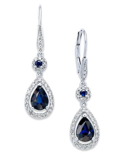 Macy's | Metallic Sapphire (1-3/4 Ct. T.w.) And Diamond (1/3 Ct. T.w.) Drop Earrings In 14k White Gold | Lyst