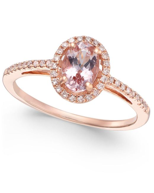 Macy's - Pink Morganite (5/8 Ct. T.w.) And Diamond (1/6 Ct. T.w.) Ring In 14k Rose Gold - Lyst