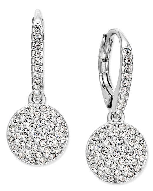 Danori | Metallic Silver-tone Pavé Dome Drop Earrings | Lyst