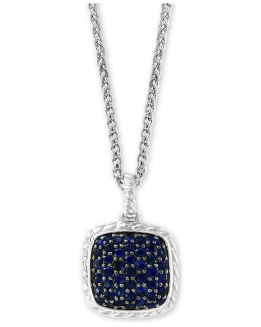 """Effy Collection - Metallic Effy® Sapphire Cluster 18"""" Pendant Necklace (1-1/2 Ct. T.w.) In Sterling Silver - Lyst"""