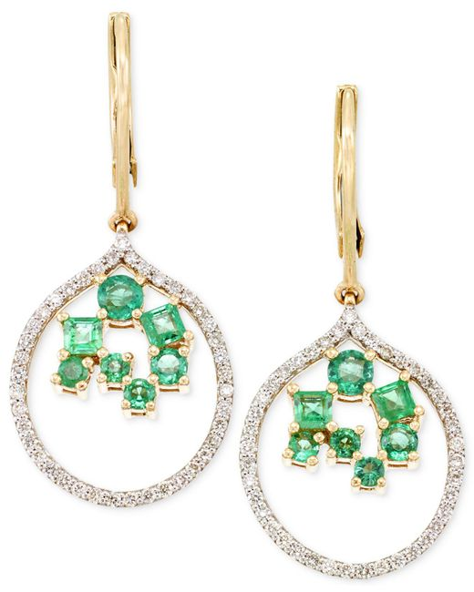 Rare Featuring Gemfields - Metallic Certified Emerald (7/8 Ct. T.w.) And Diamond (3/8 Ct. T.w.) Scatter Drop Earrings In 14k Gold - Lyst