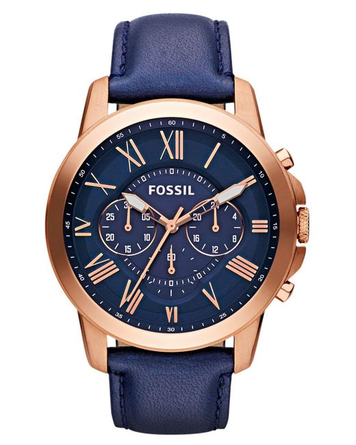 Fossil - Blue Men's Grant Navy Leather Strap Watch 44mm Fs4835 for Men - Lyst