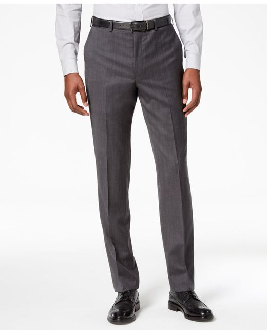 DKNY - Gray Modern-fit Stretch Textured Suit Pants for Men - Lyst