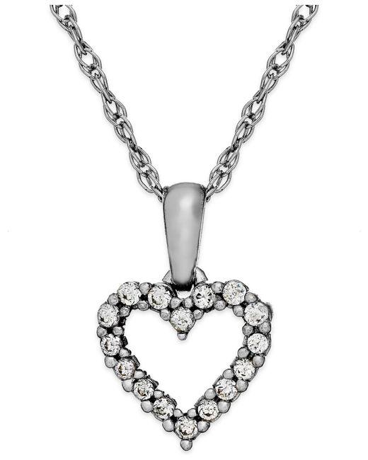 Macy's - Diamond Heart Pendant Necklace In 14k White Gold (1/10 Ct. T.w.) - Lyst