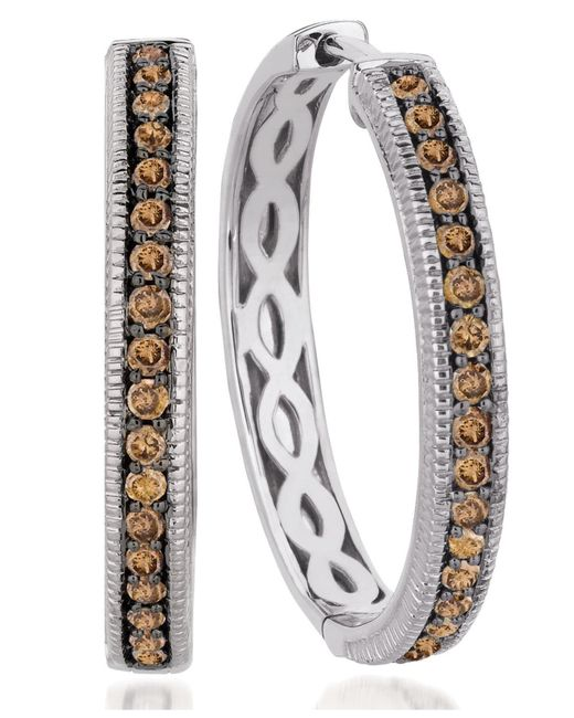 Le Vian | Brown Chocolate Diamond Hoop Earrings (5/8 Ct. T.w.) In 14k White Gold | Lyst